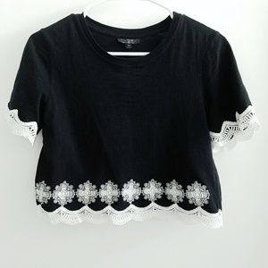 Topshop Cropped Tee With Crochet Detail